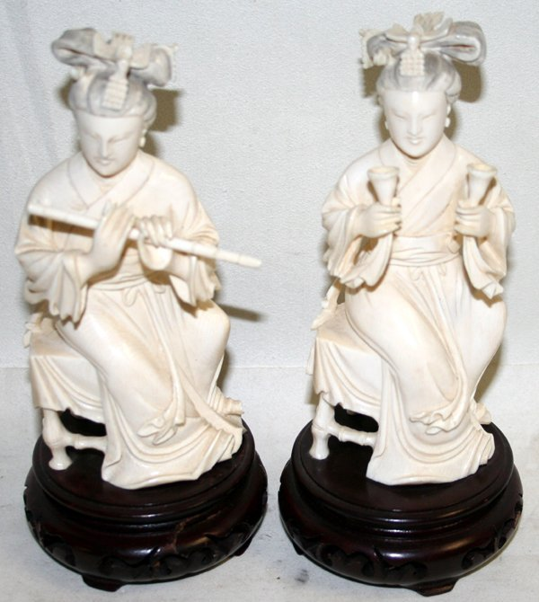 020016: JAPANESE CARVED IVORY GEISHA FIGURES, H7.5""