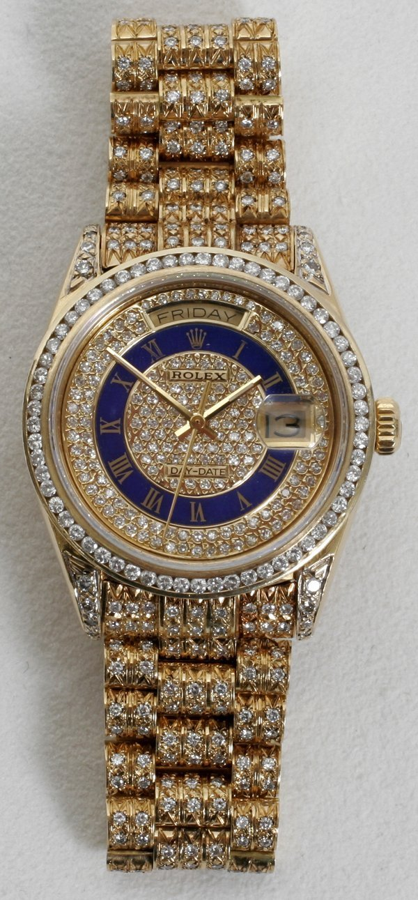 "020018: ROLEX 18K ""DATE-JUST"" MAN'S WATCH W/DIAMONDS"