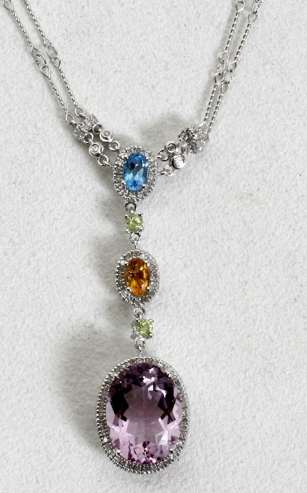 020022: 18K GOLD, GEMSTONE & DIAMOND NECKLACE