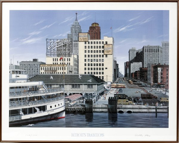 """020545: WILLIAM MOSS PRINT, """"DETROIT'S TRADITIONS"""""""