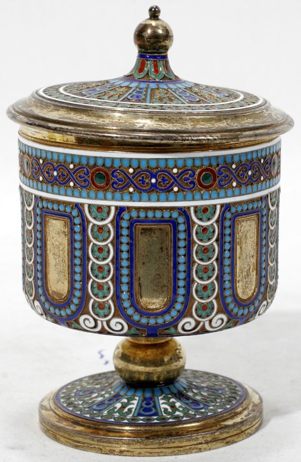 021017: RUSSIAN SILVER-GILT & ENAMEL SPICE CONTAINER