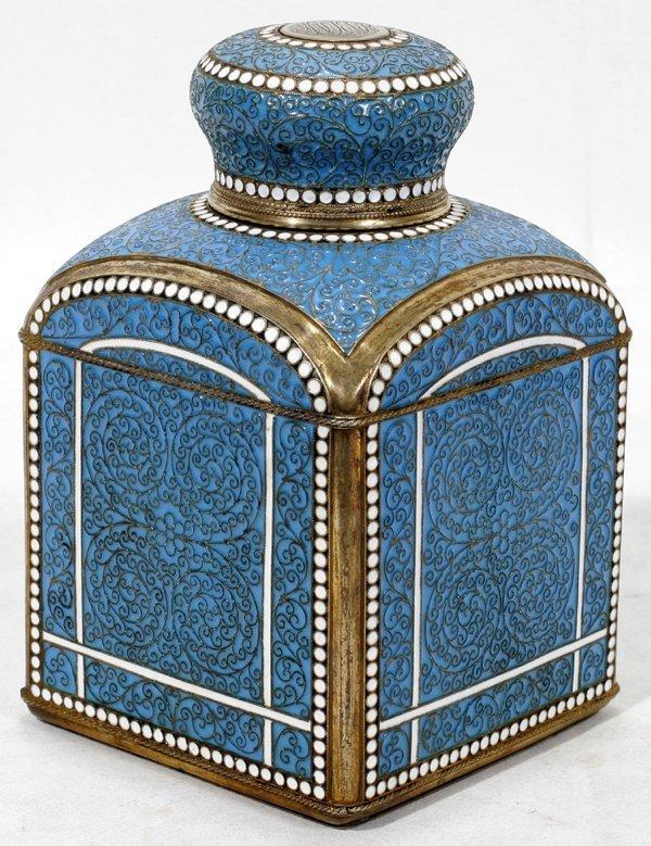 021020: RUSSIAN SILVER-GILT & ENAMEL TEA CADDY, 1894