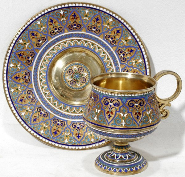 021022: RUSSIAN SILVER-GILT & ENAMEL CUP & SAUCER
