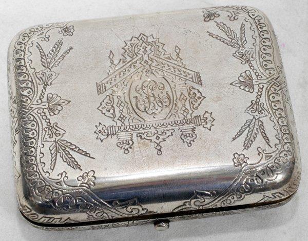 021023: RUSSIAN SILVER CIGARETTE CASE, MOSCOW, 1888