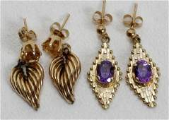 021410 14K GOLD CITRINE  AMETHYST PENDANT EARRINGS