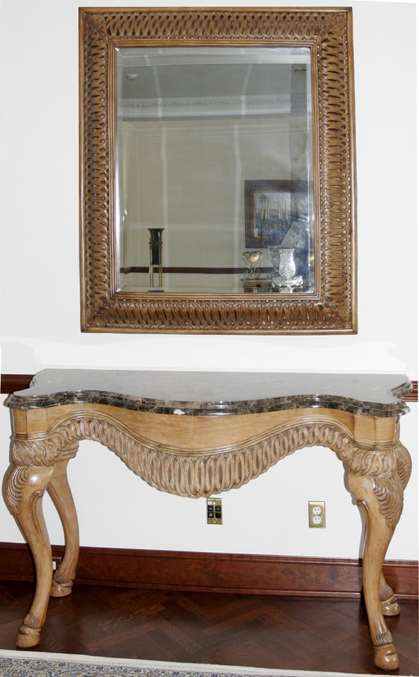 022008: CARVED TUSCANY FINISH PINE & MARBLE CONSOLE