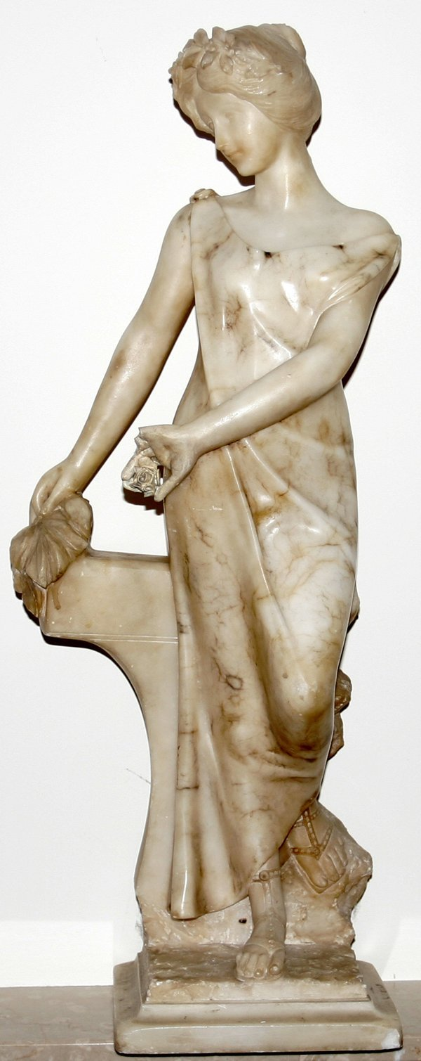 022023: ITALIAN CARVED MARBLE STANDING GIRL, AS IS