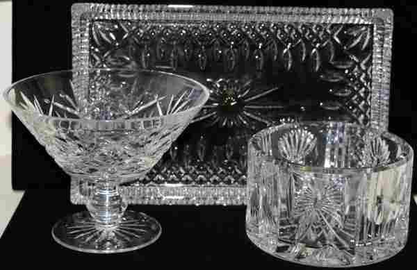 WATERFORD CUT CRYSTAL COMPOTE, COOLER & TRAY