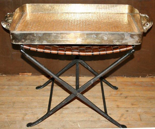 022518: ITALIAN SILVER PLATE SERVING TRAY W/HANDLES