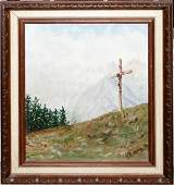 030174   OIL ON CANVAS CRUCIFIX ON HILL