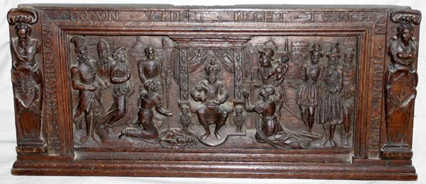 """031005: GERMAN CARVED WOOD RELIEF WALL PANEL, 13""""x30"""""""