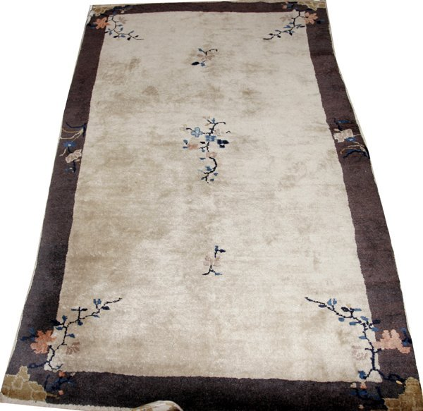 031011: ANTIQUE CHINESE HAND-WOVEN CARPET, 5'x4'
