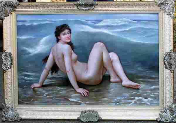 OIL ON BOARD, 'RECLINING NUDE ON BEACH'