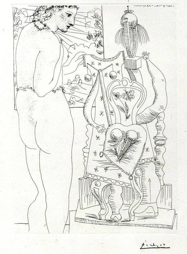 032007: PABLO PICASSO ETCHING, SCULPTURE SURREALISTE
