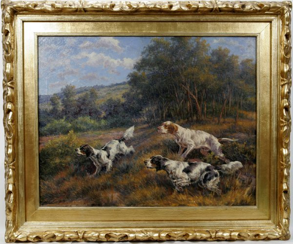 032012: EDMUND HENRY OSTHAUS OIL ON CANVAS, DOGS