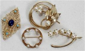 032538 GOLD TONE COSTUME PINS FOUR L15