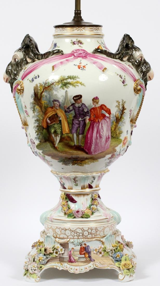 CARL THIEME PORCELAIN POTSCHAPPEL URN MOUNTED LAMP