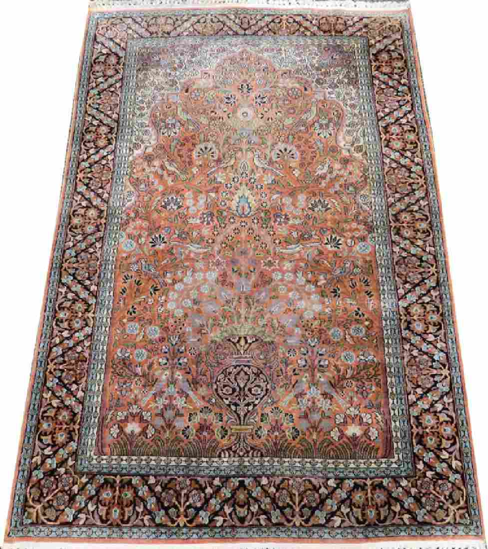 INDIAN HAND WOVEN COTTON AND SILK BLEND RUG