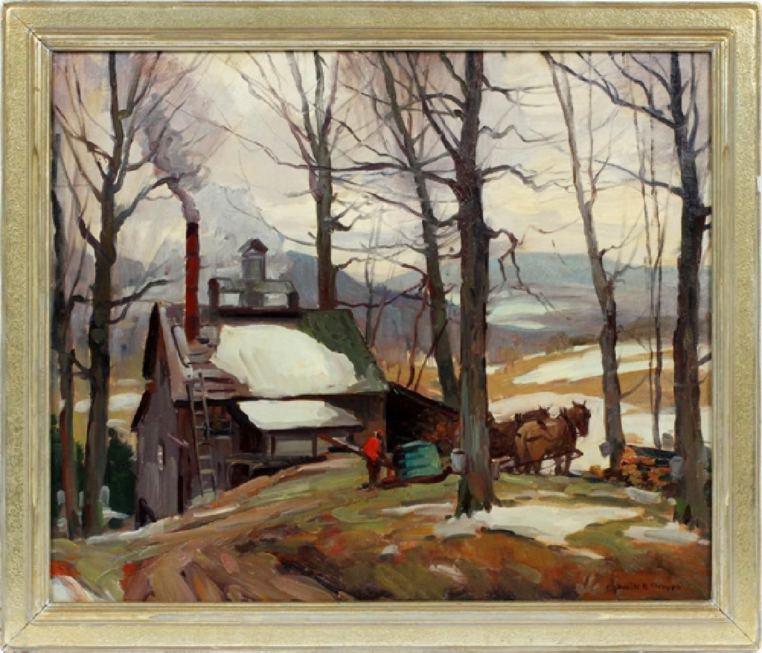 EMILE GRUPPE OIL ON CANVAS SUGARING VERMONT SUGAR HOUSE