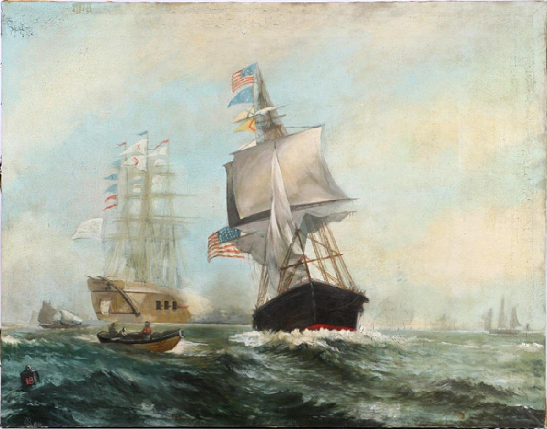 SIGNED OIL ON CANVAS, 1914, CLIPPER SHIPS