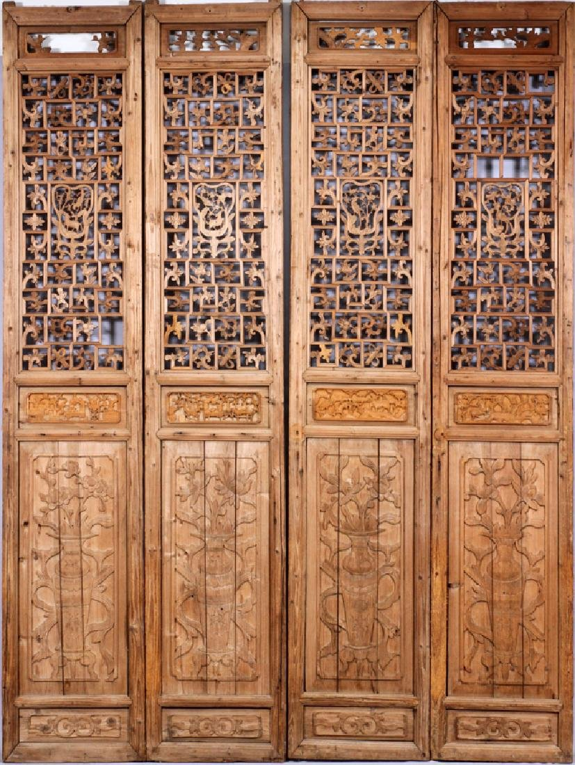 CHINESE CARVED PANEL SCREEN, 20TH C., 8 PANELS - 2
