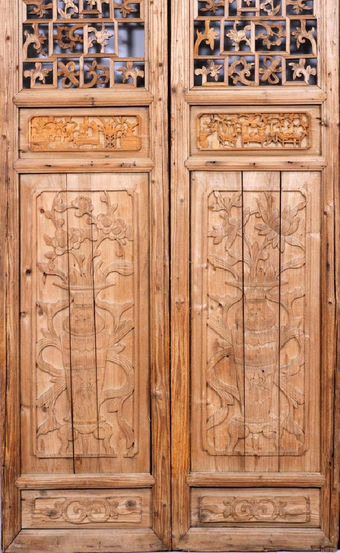 CHINESE CARVED PANEL SCREEN, 20TH C., 8 PANELS - 3
