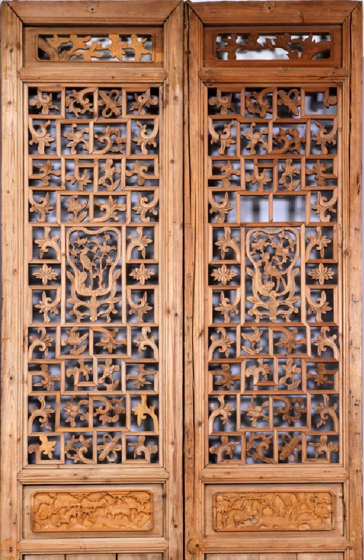 CHINESE CARVED PANEL SCREEN, 20TH C., 8 PANELS - 5