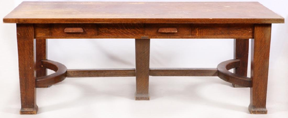 T.G. SELLEW ARTS & CRAFTS STYLE OAK TABLE