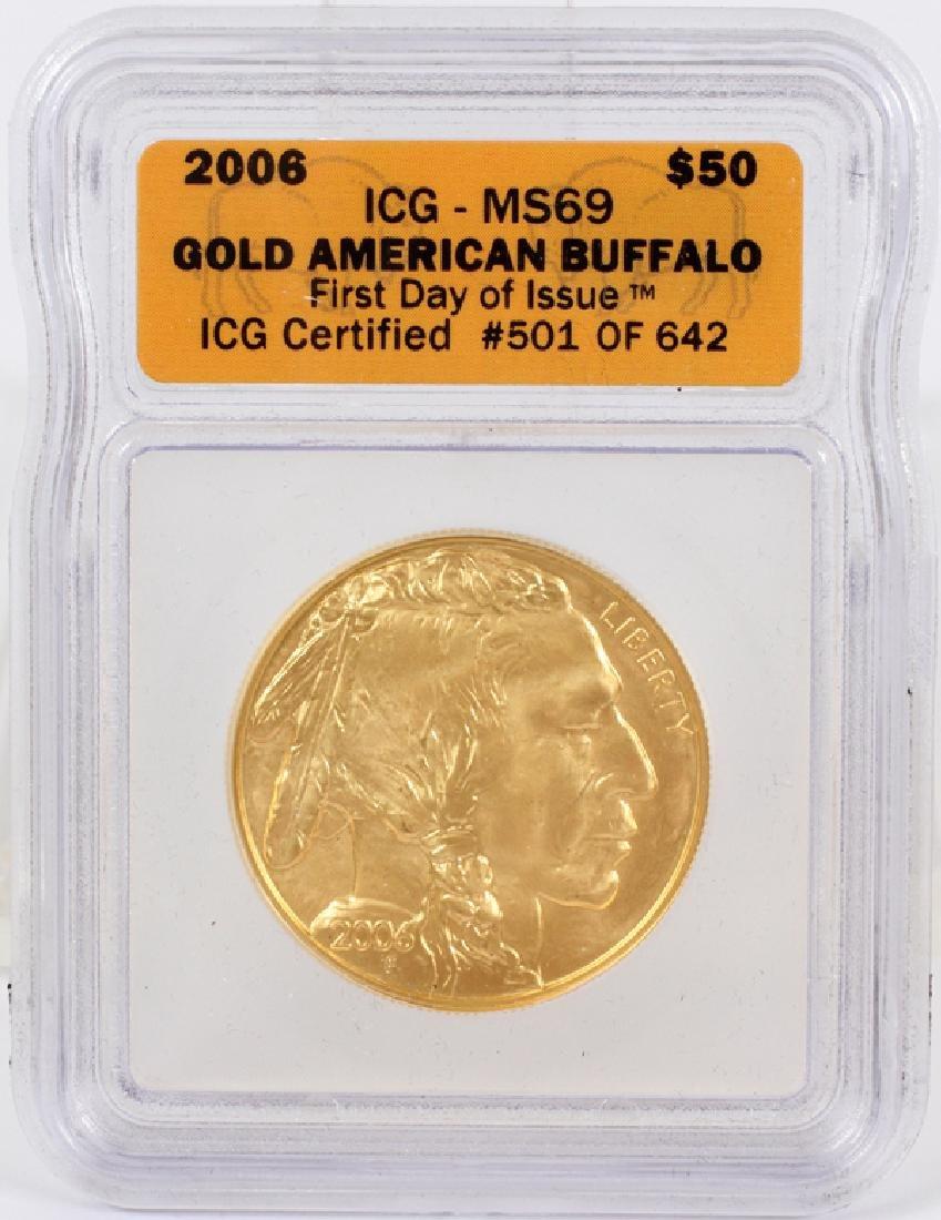GOLD AMERICAN BUFFALO $50 COIN, 2006 ICG MS69