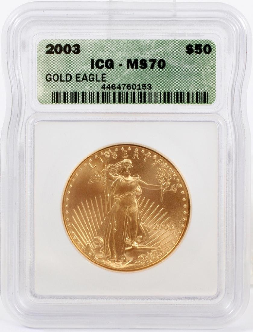 AMERICAN EAGLE $50 GOLD COIN, 2003, ICG MS70