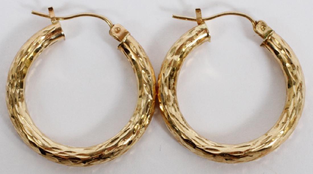PAIR OF 14KT YELLOW GOLD, HOOP PIERCED EARRINGS