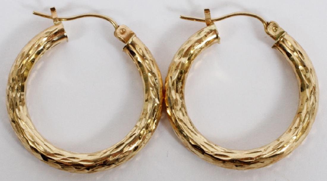 PAIR OF 14KT YELLOW GOLD, HOOP PIERCED EARRINGS