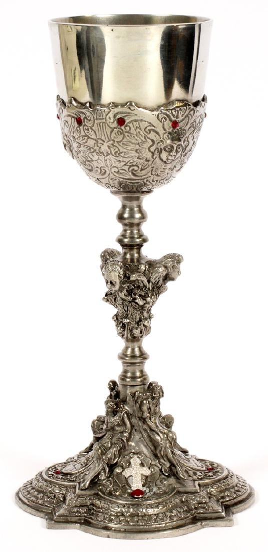 PEWTER CHALICE WITH SILK LINED CASE