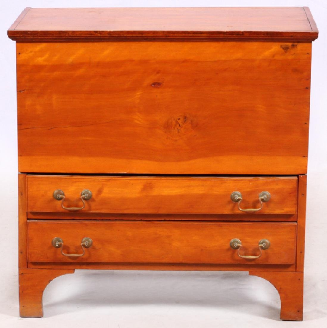 AMERICAN CHERRY BLANKET CHEST OVER TWO DRAWERS