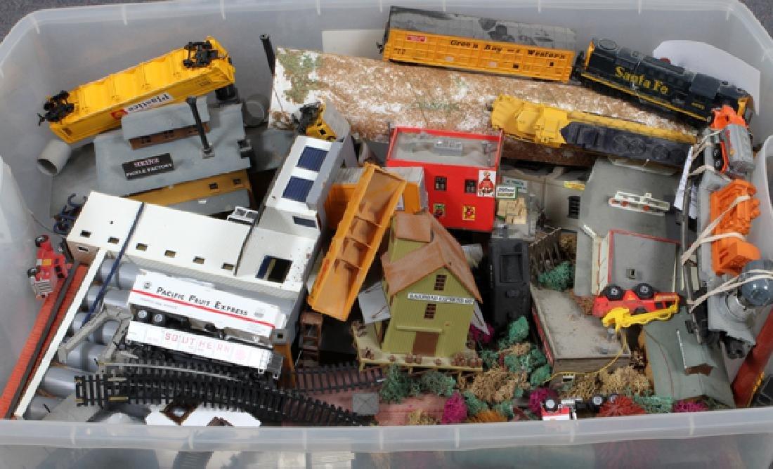 MINATURE TRAIN-ENGINE, RAILCARS & TRACK, BUILDINGS - 2