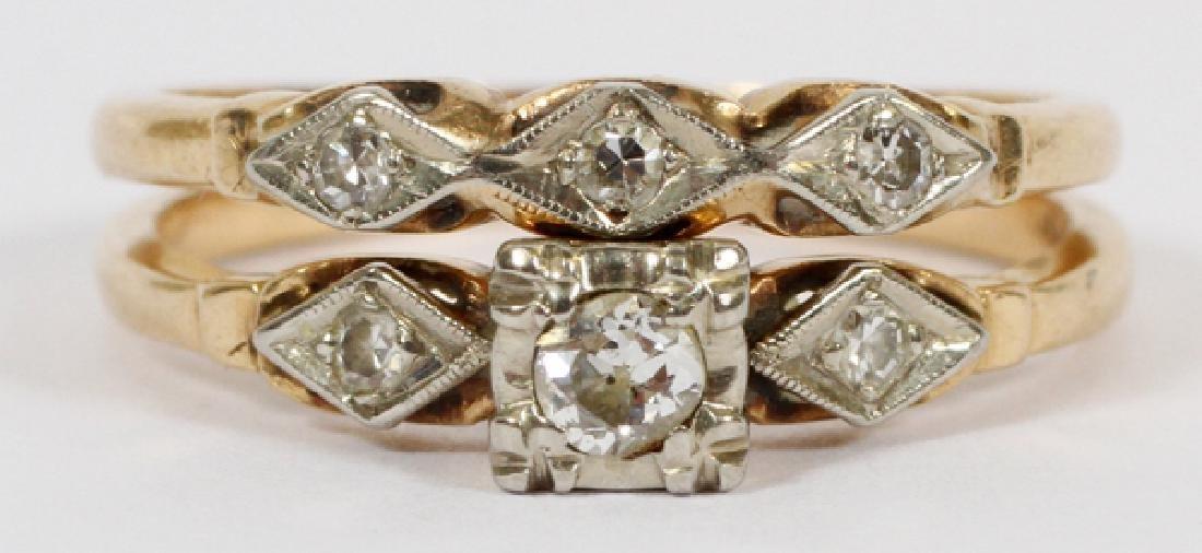 14KT YELLOW GOLD & DIAMOND WEDDING RING SET