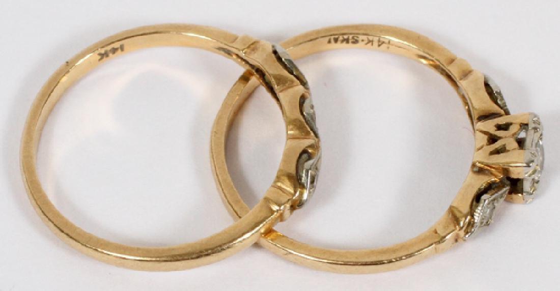 14KT YELLOW GOLD & DIAMOND WEDDING RING SET - 2