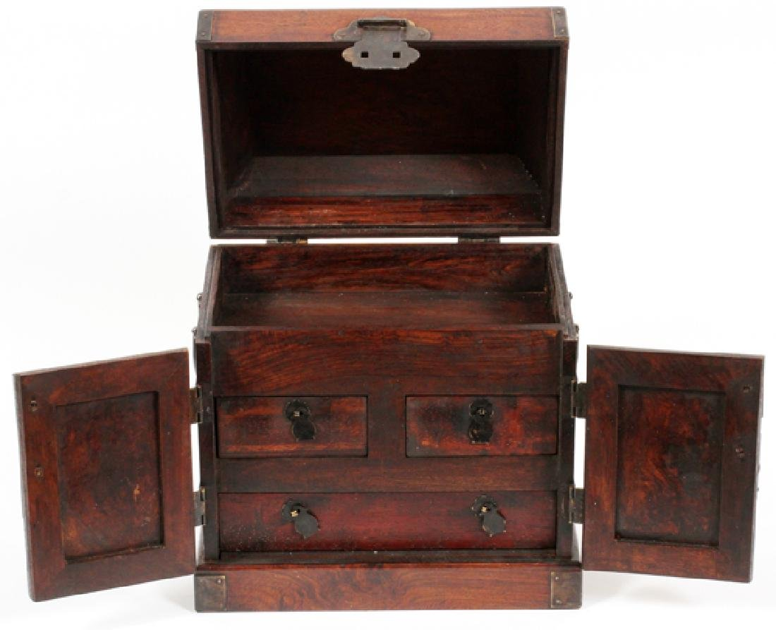 CHINESE DOUBLE DOOR BURLWOOD JEWELRY BOX C 19TH C