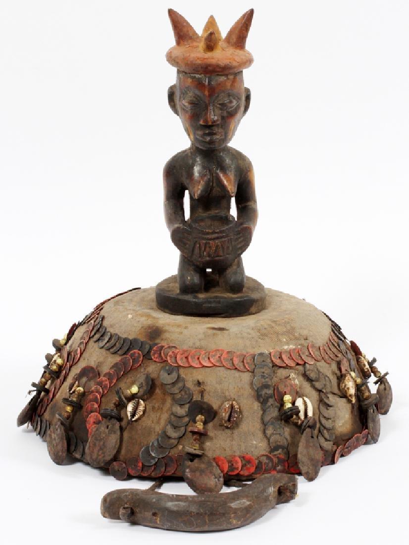 """AFRICAN WOVEN HEADDRESS, H 13 1/2"""", DIA 10 1/2"""""""