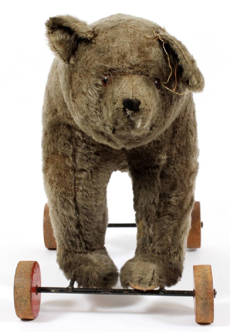 STEIFF MOHAIR BEAR ON WHEELS C1930 - 3