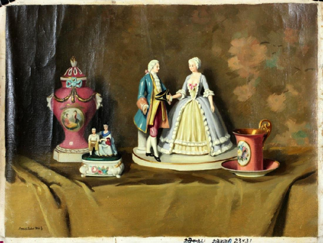OIL ON CANVAS STILL LIFE OF PORCELAIN ARTIFACTS