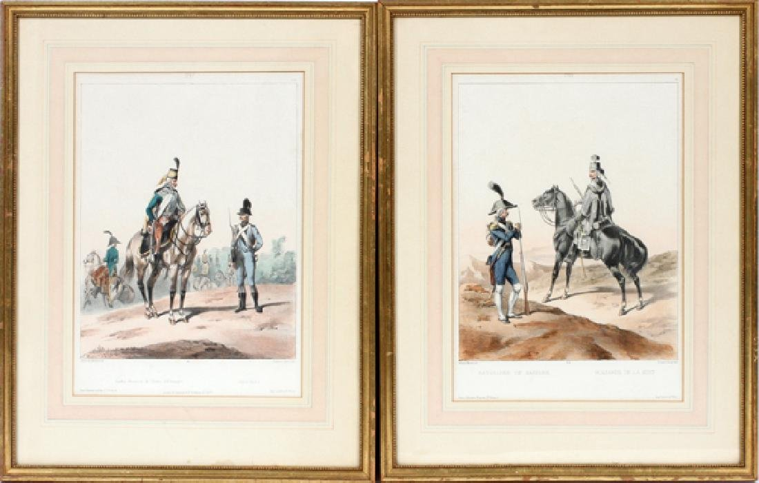 GUSTAVE DAVID MEZZOTINTS PAIR FRENCH SOLDIERS