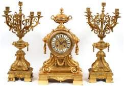 FRENCH GILT BRONZE CLOCK GARNITURE BY L. MARTI