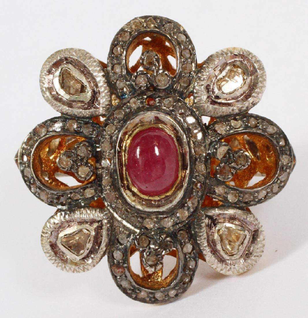 GOLD FILIGREE & DIAMOND & RUBY RING