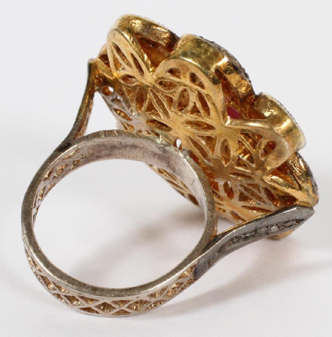 GOLD FILIGREE & DIAMOND & RUBY RING - 2