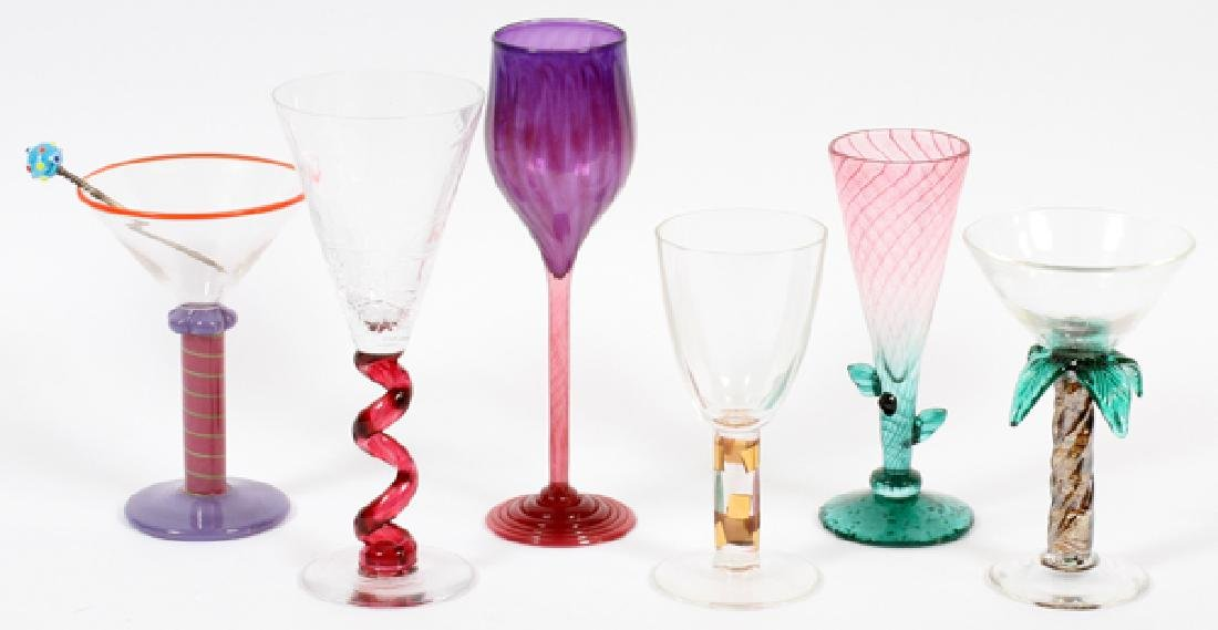 SIGNED MODERN ART GLASS COCKTAIL GLASSES