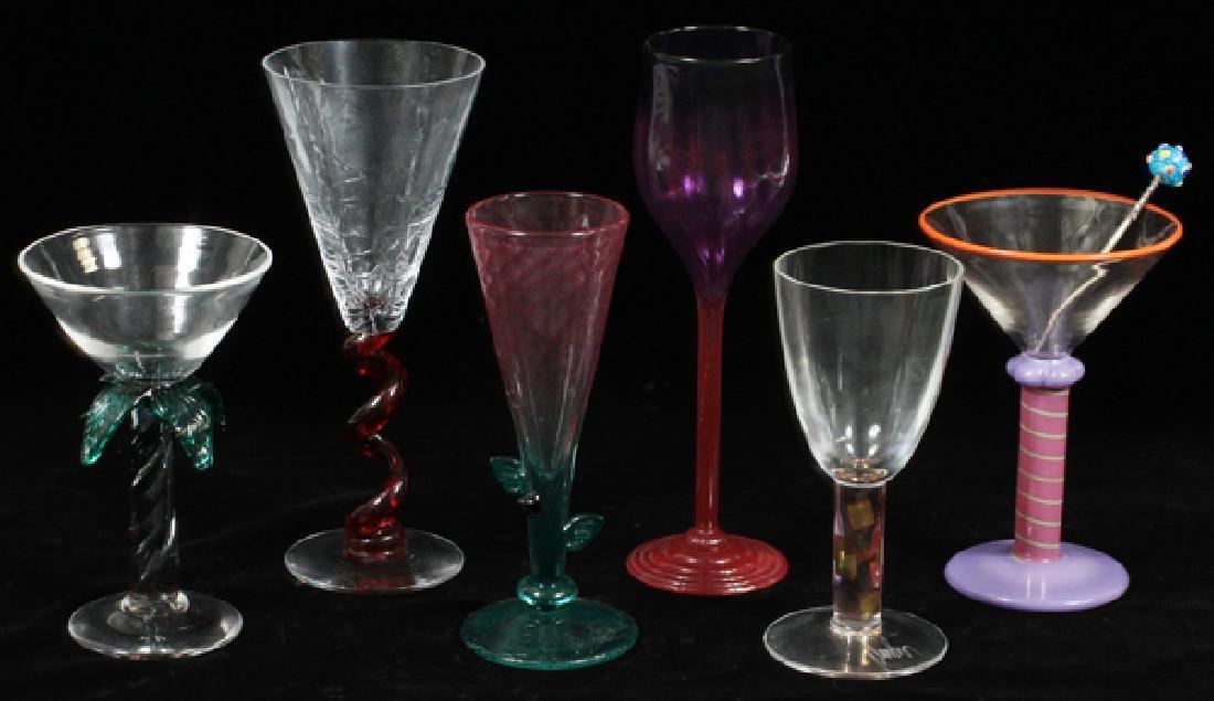 SIGNED MODERN ART GLASS COCKTAIL GLASSES - 2