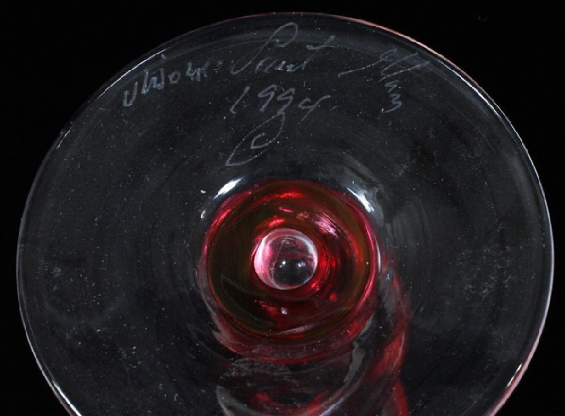 SIGNED MODERN ART GLASS COCKTAIL GLASSES - 3