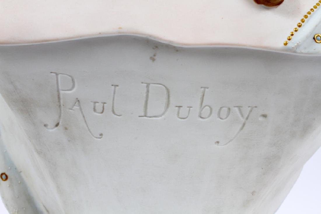 "AFTER PAUL DUBOY BISQUE BUST, H 21"", L 10"" D 7"" - 4"