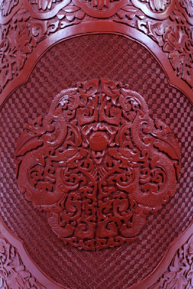 CHINESE CINNABAR & CLOISONNE GARDEN SEAT - 2